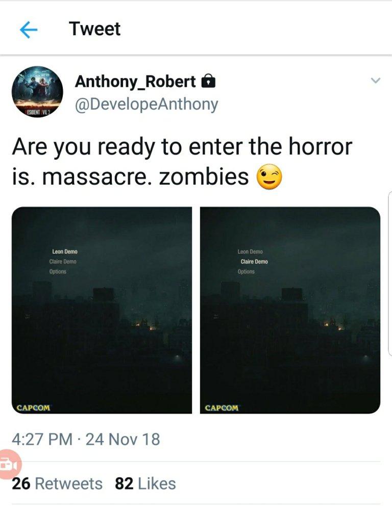 ممکن است دمویی از عنوان مورد Resident Evil 2 Remake عرضه شود