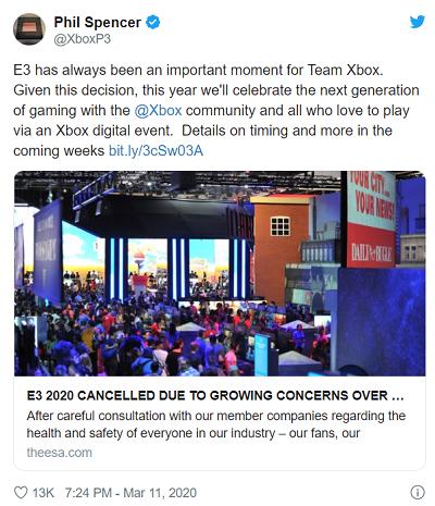 با توجه به لغو برگزاری E3، رئیس بخش XBOX در مورد آن توئیت کرد . . .