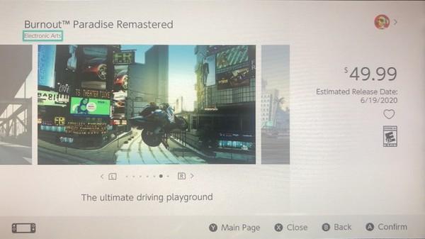 تاریخ دقیقِ عرضهی عنوان Burnout Paradise Remastered بر روی کنسول Nintendo Switch لو رفت! + قیمت