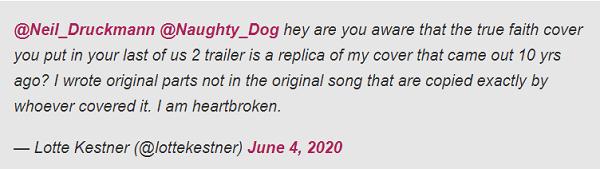 ناتیداگ به استفاده بدون اجازه از یک قطعه موسیقی در آخرین تریلر The Last of Us II متهم شده است . . .