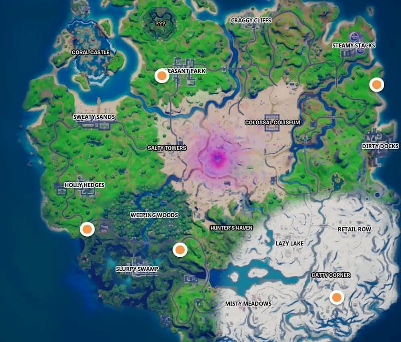 مکان پایگاه های Snowmando روی نقشه بازی